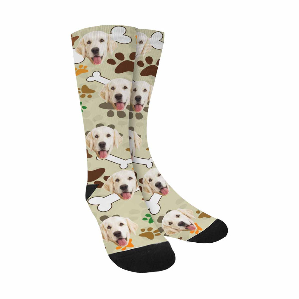 Custom Printed Picture Dog Bones and Paws Dog Socks