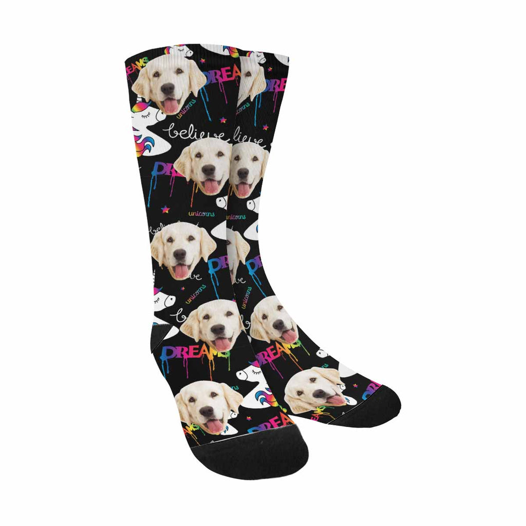 Custom Photo Unicorns Pup Socks, Dreams Magical