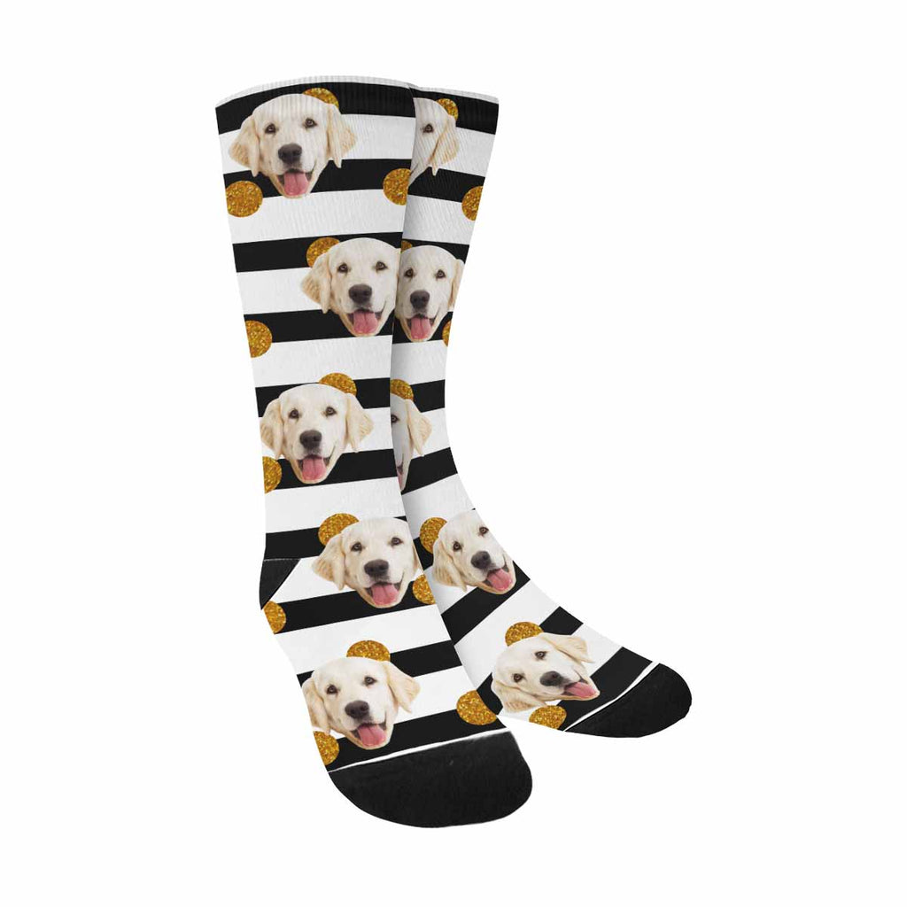 Custom Printed Photo Golden Dots Pet Socks, White,Black Lines