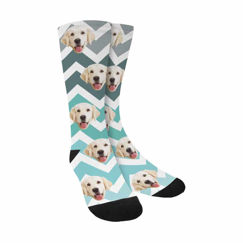 Custom Photo Zig Zag Pet Socks, Teal Fade Chevron