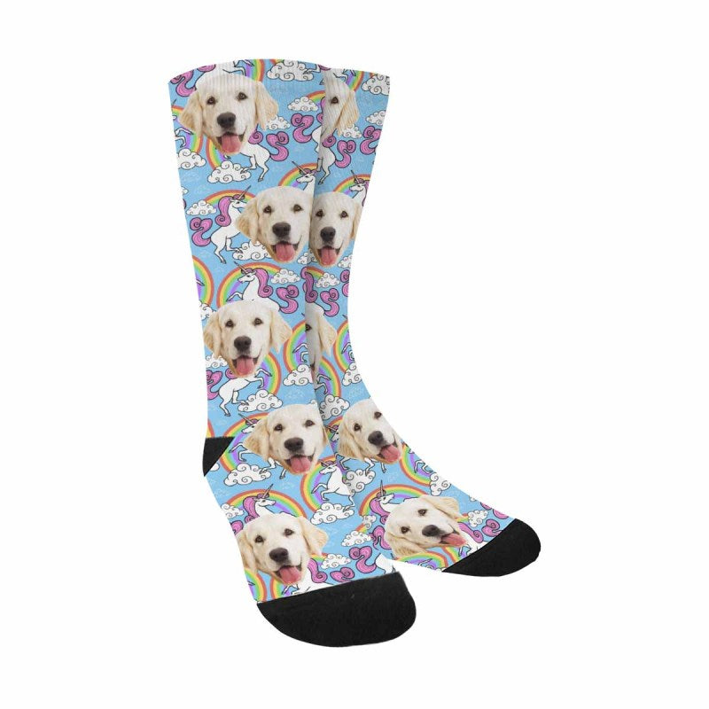 Custom Printed Photo Unicorn Pet Socks, Rainbow and Clouds on Blue