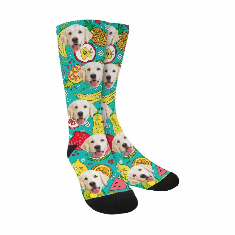 Custom Printed Summer Fruit Photo Pup Socks