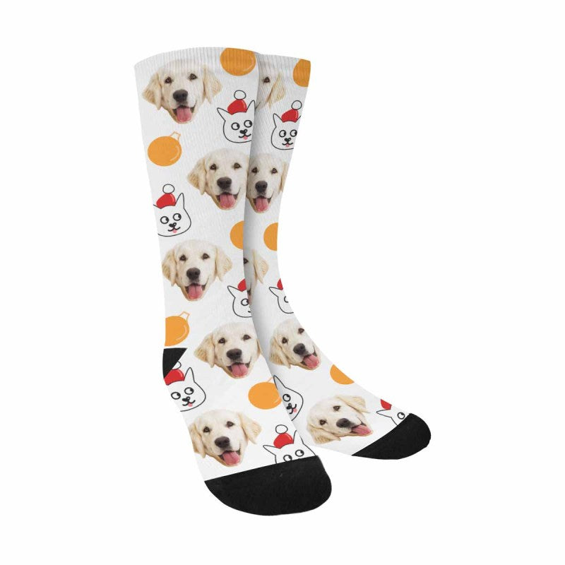 Custom Printed Picture Cats and Christmas Balls Pup Socks
