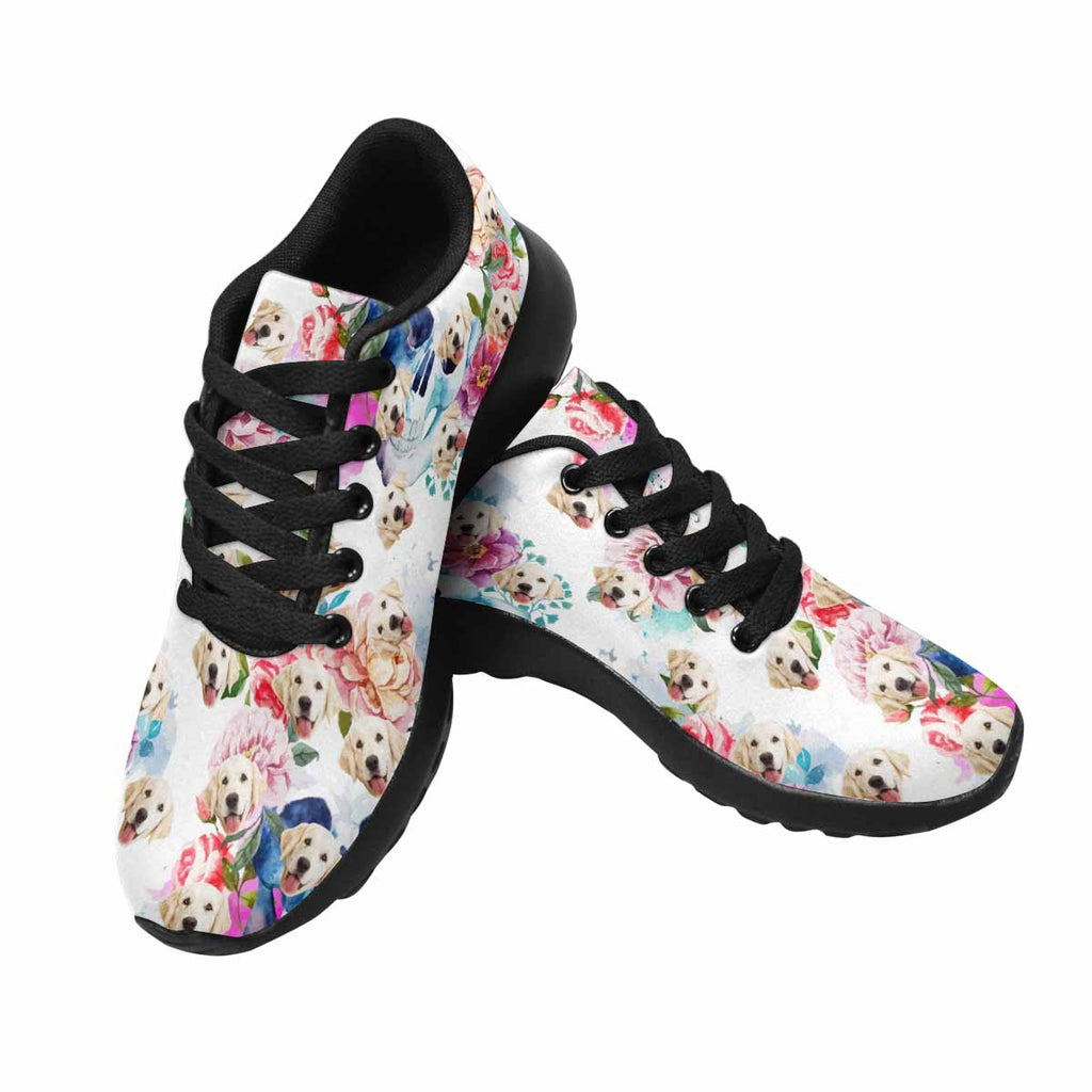 Personalized Picture Skull and Flowers Pup Women's Running Shoes