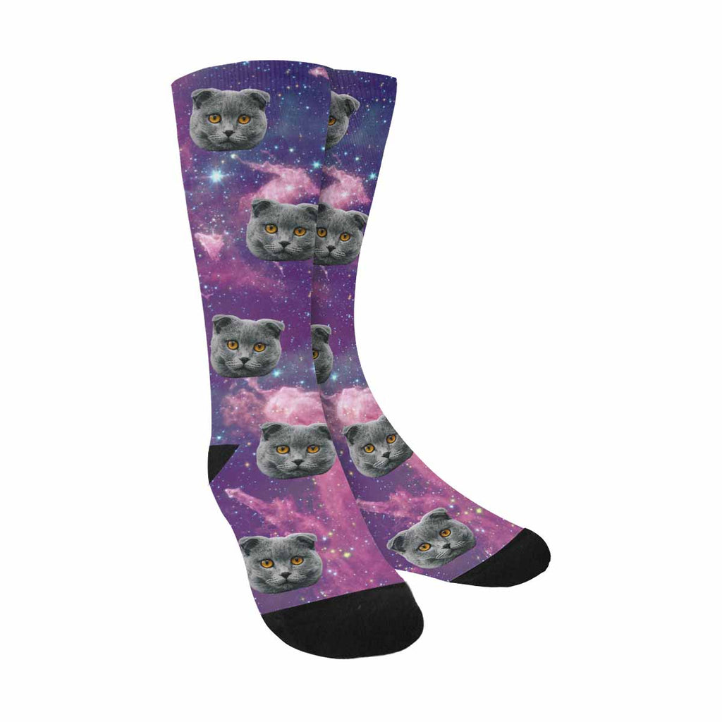 Custom Printed Nebula Cat Socks Star Field
