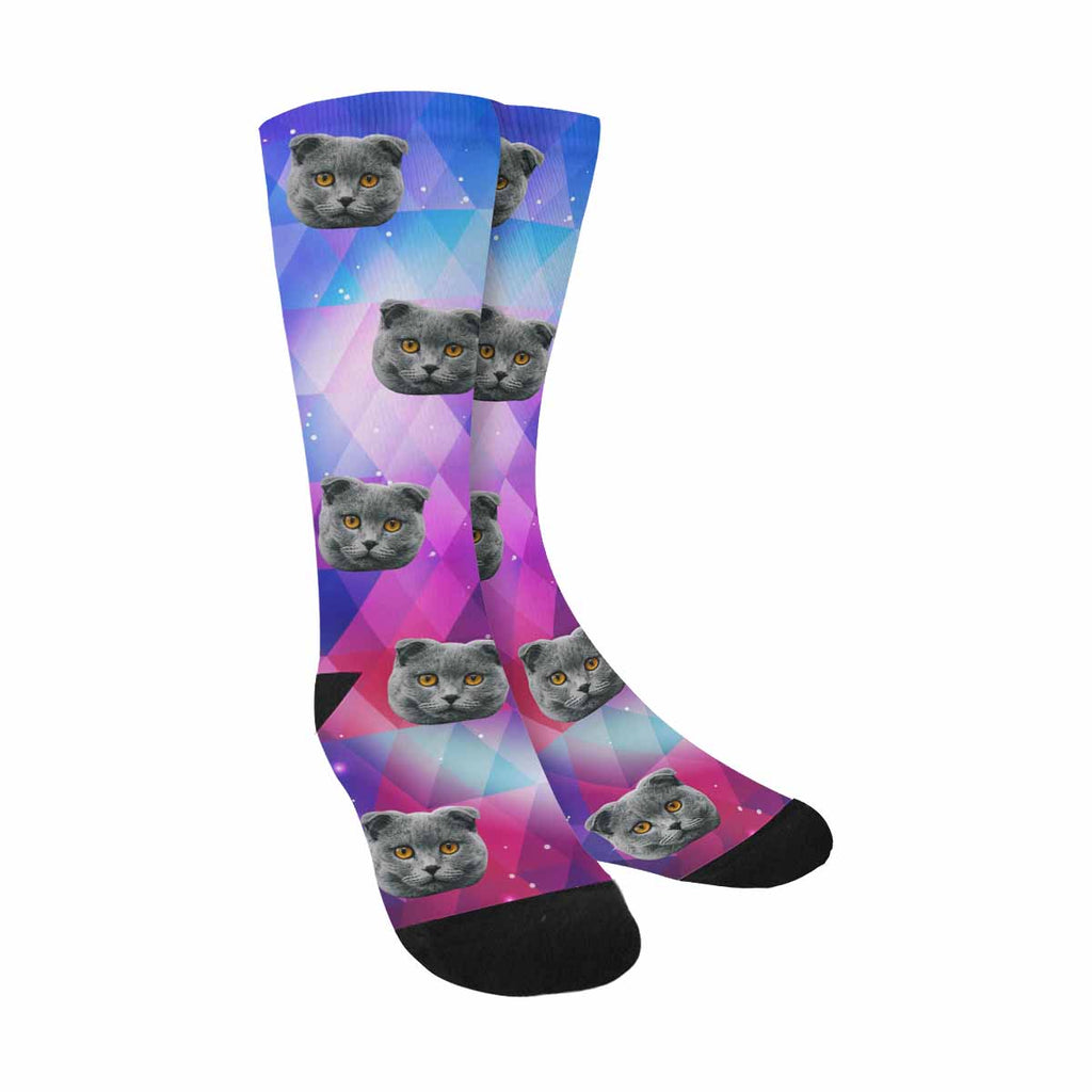 Custom Printed Picture Geometry Galaxy Pet Socks