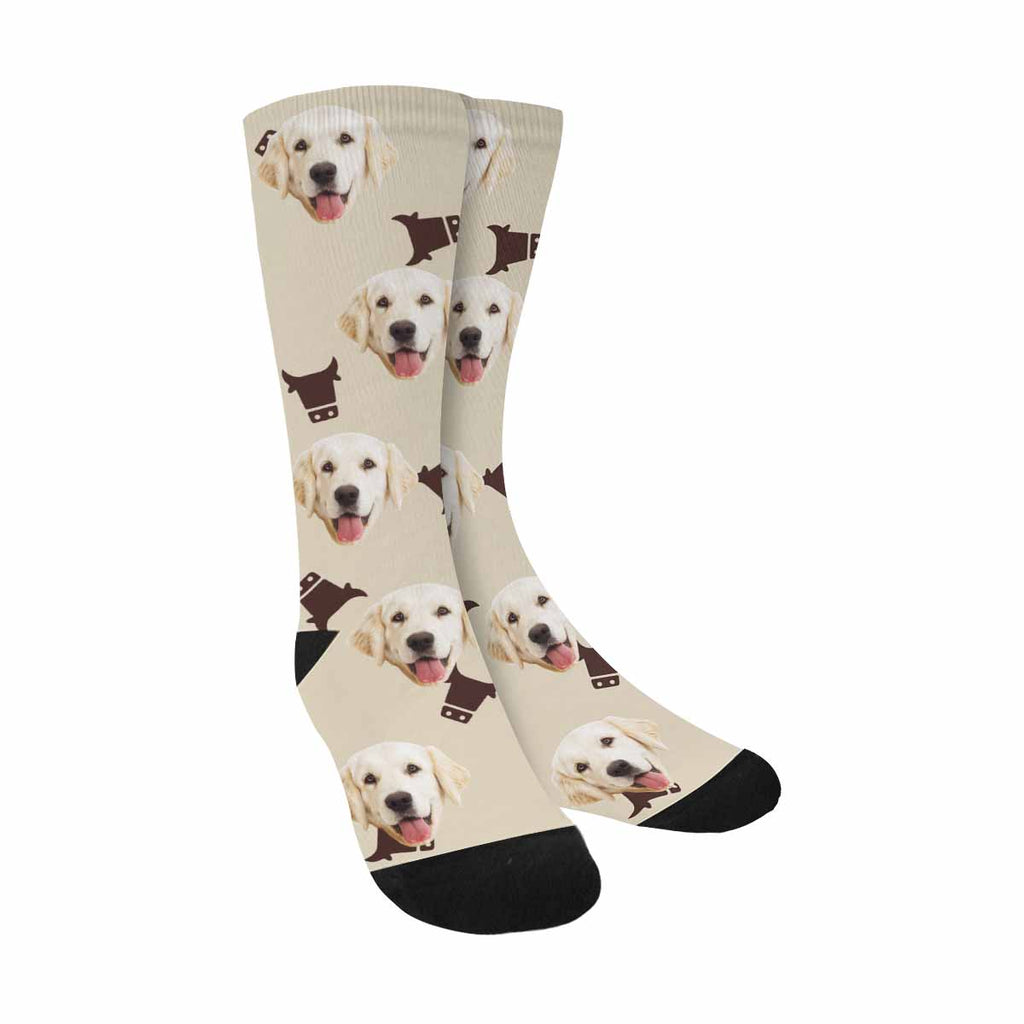 Custom Printed Picture Brown Cow Pup Socks