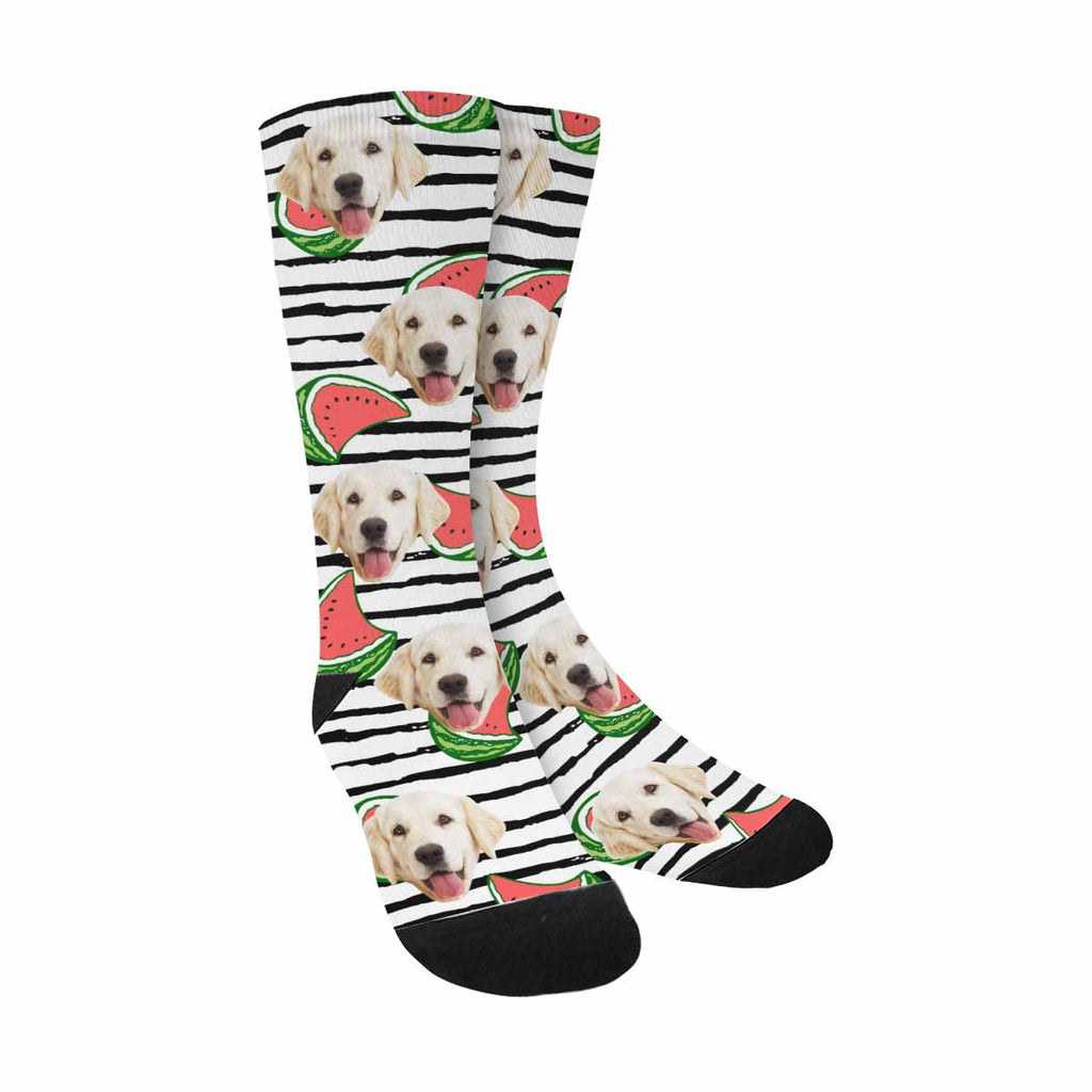 Custom Printed Watermelons Photo Pet Socks, Black and White Stripes
