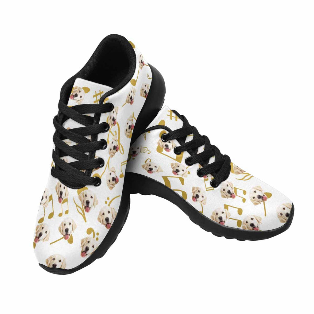 Custom Printed Golden Music Notes Women's Pup Sneakers