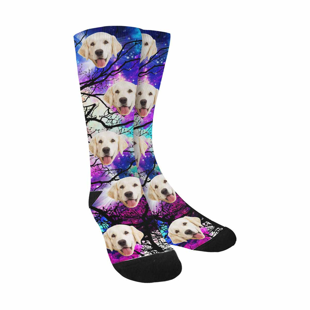 Custom Photo Star Field Dog Socks, Tree