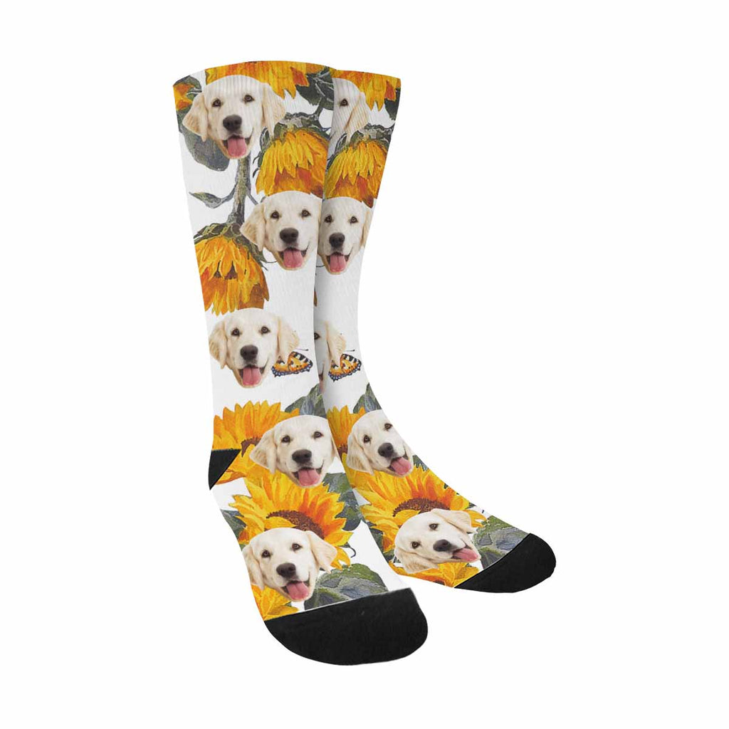 Personalized Picture Butterflies and Sunflowers Pup Socks