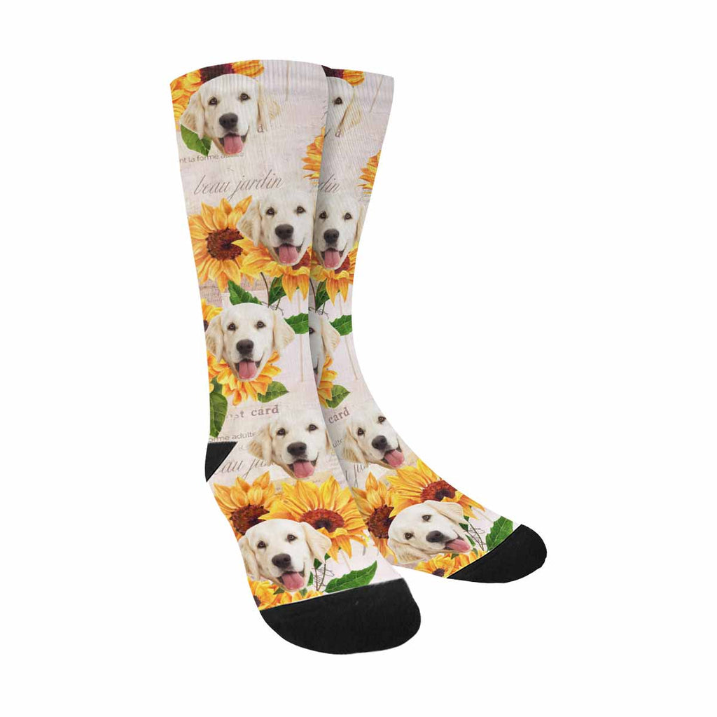 Custom Printed Picture Sunflower Pup Socks