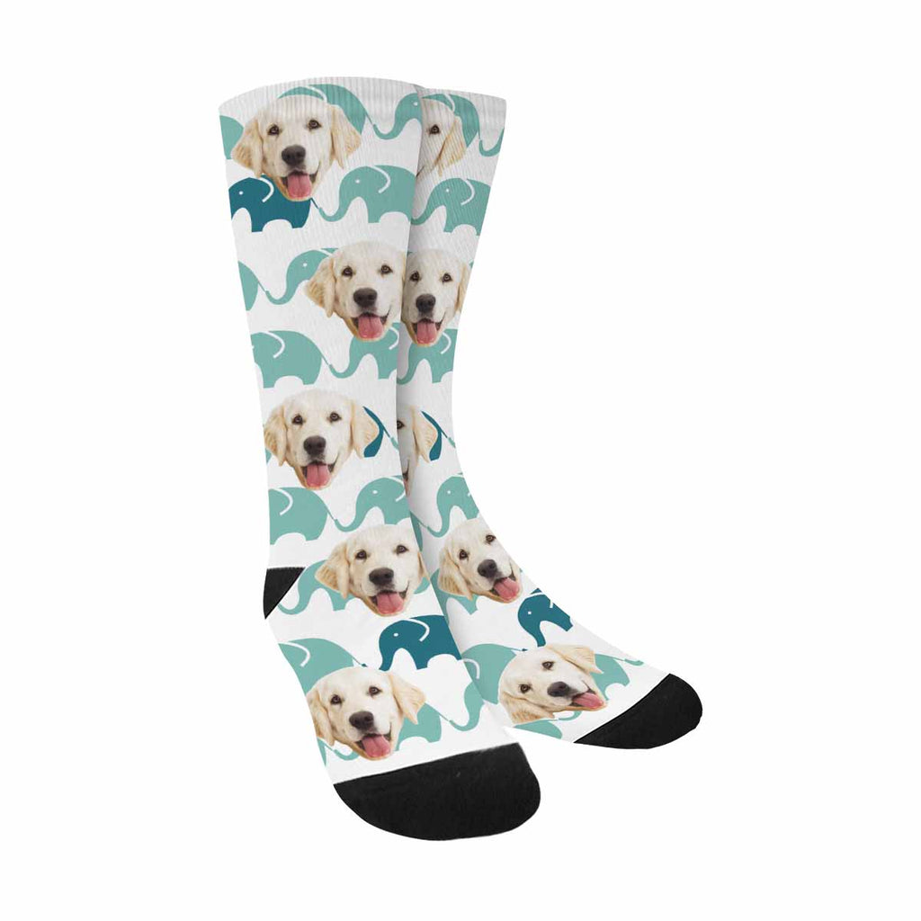 Personalized Picture Cute Elephants Pet Socks, Blue and Grey