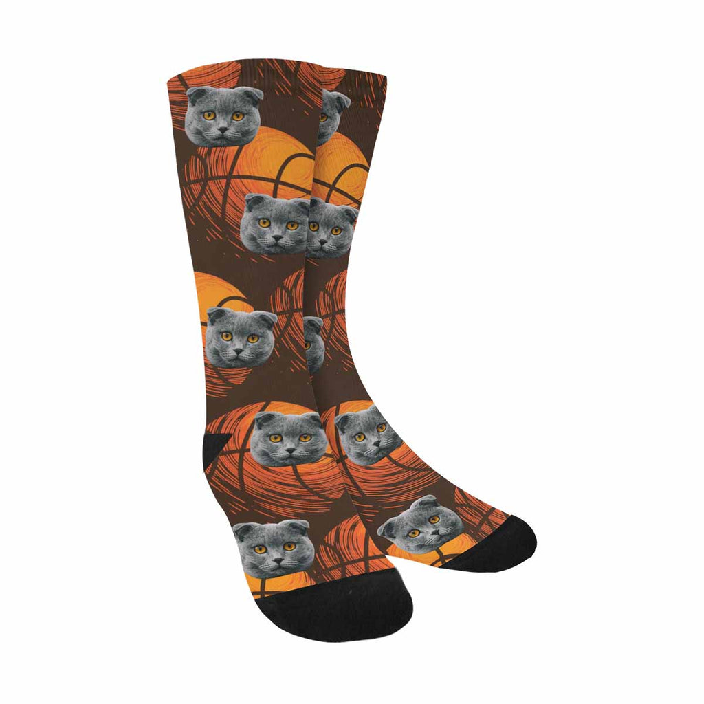 Custom Printed Sport Basketball Cat Face Socks