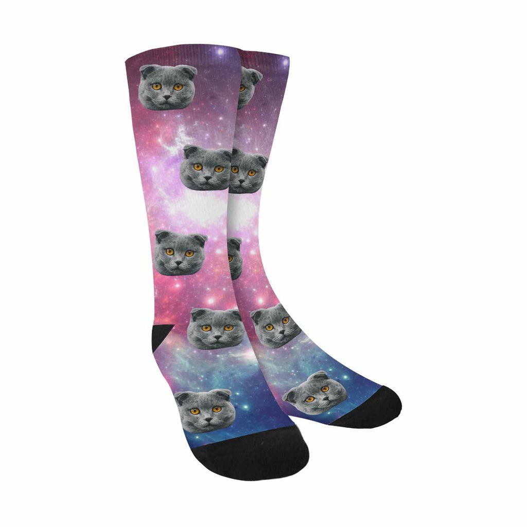 Custom Printed Photo Colorful Space Pet Socks Nebula