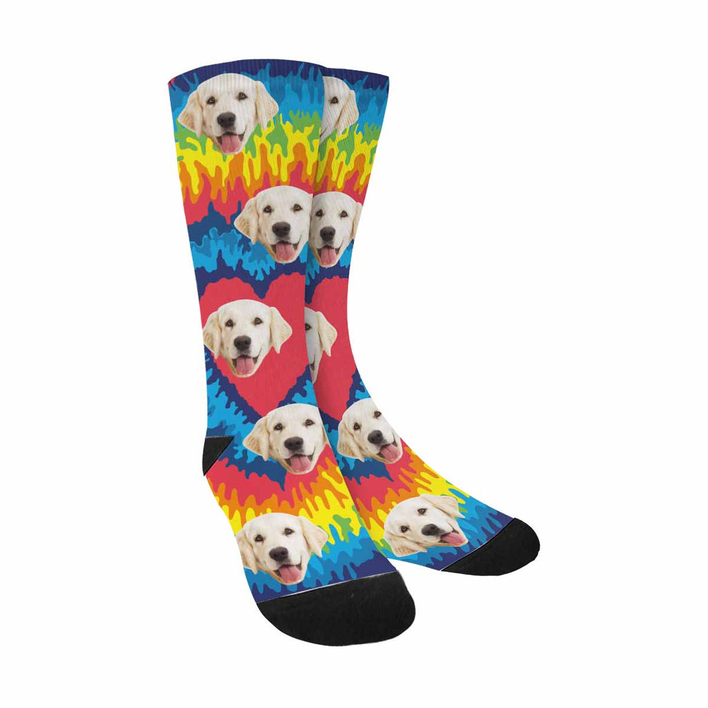 Personalized Picture Heart Dog Socks, Rainbow Tie Dye