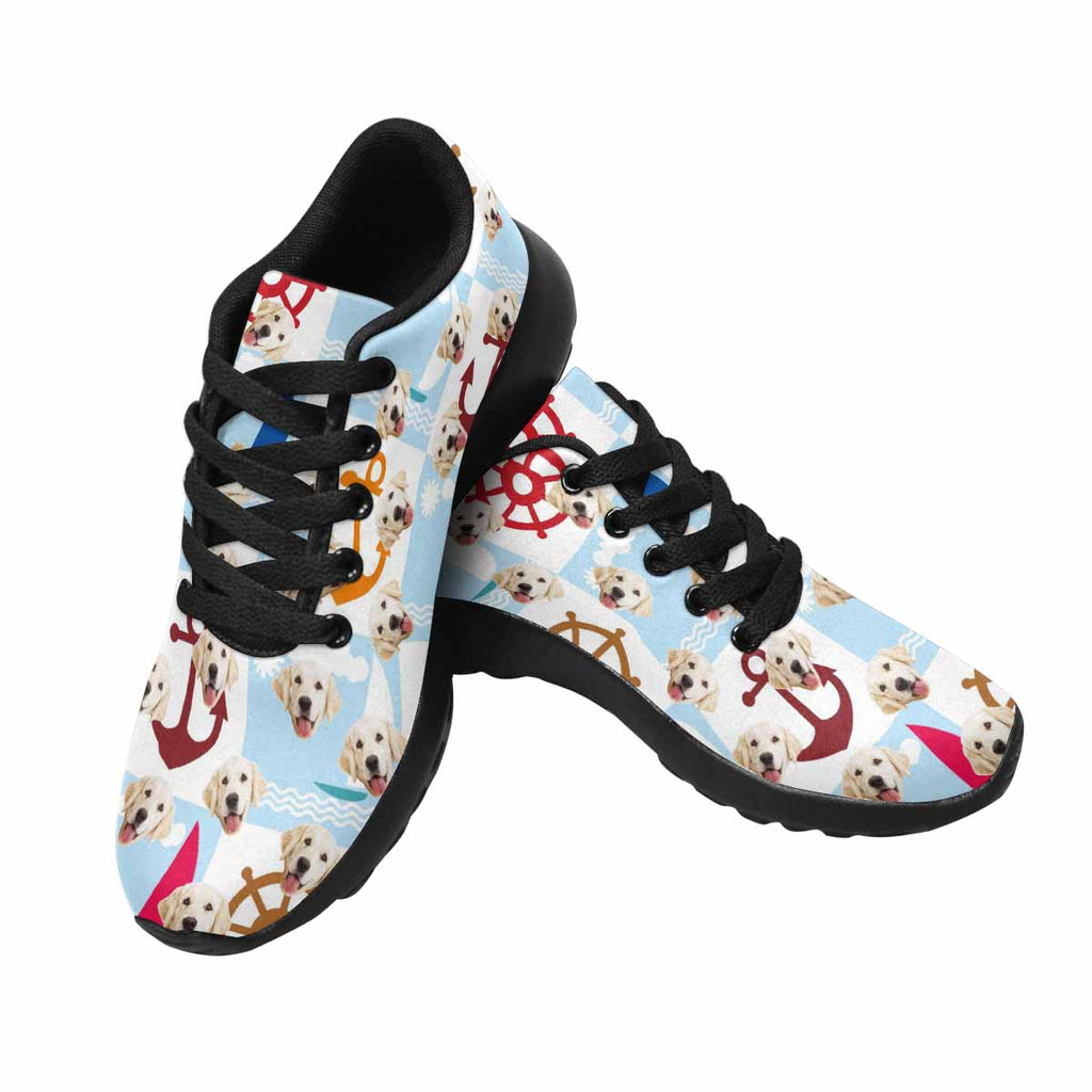 Custom Printed Nautical Anchors and Wheels Dog Women's Running Shoes