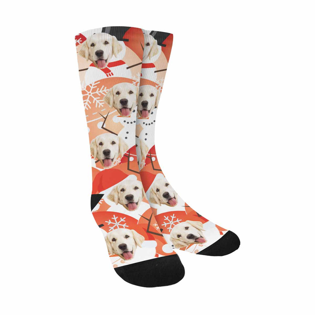 Custom Printed Christmas Snowman Pet Socks
