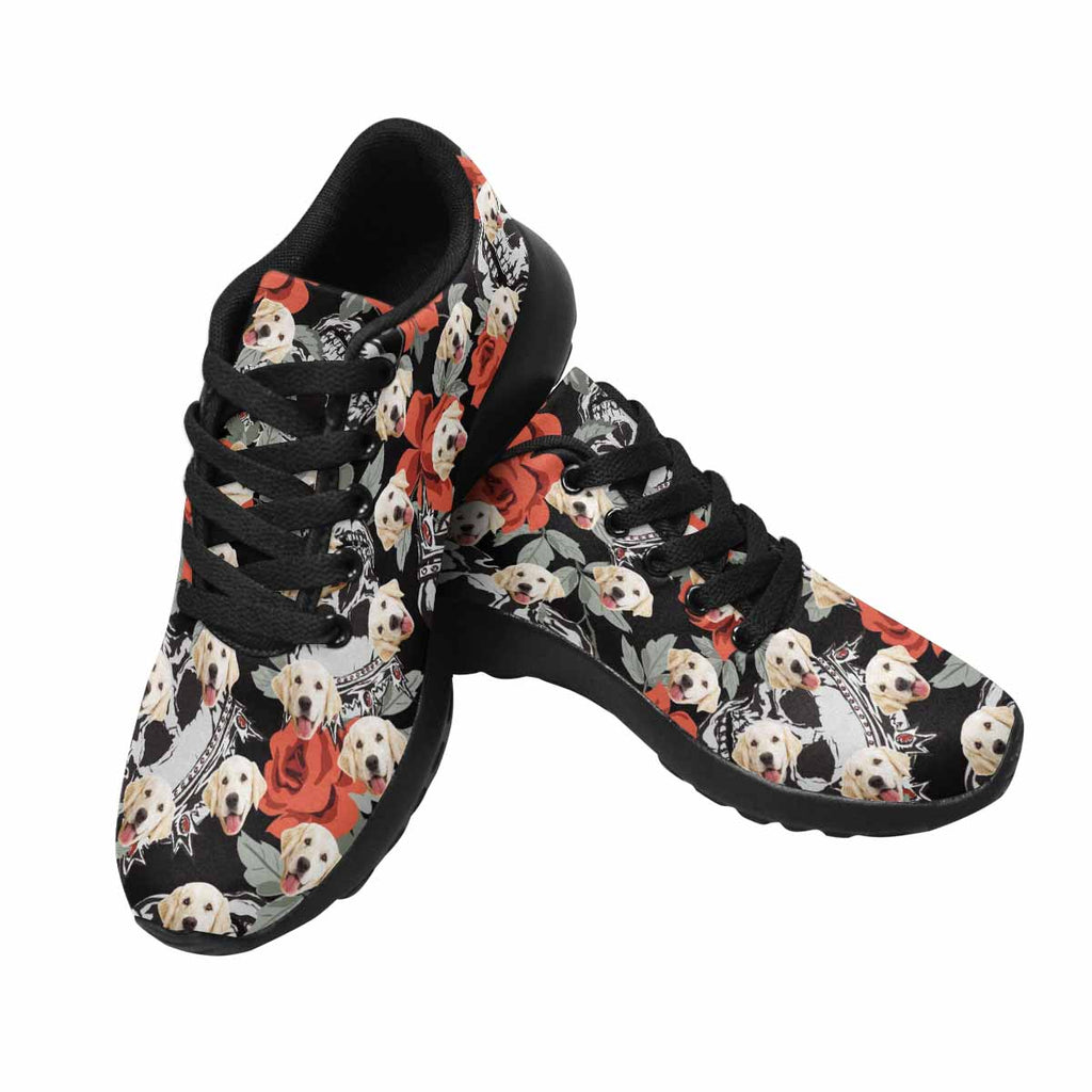 Personalized Picture Human Skulls Pup Women's Running Shoes Roses