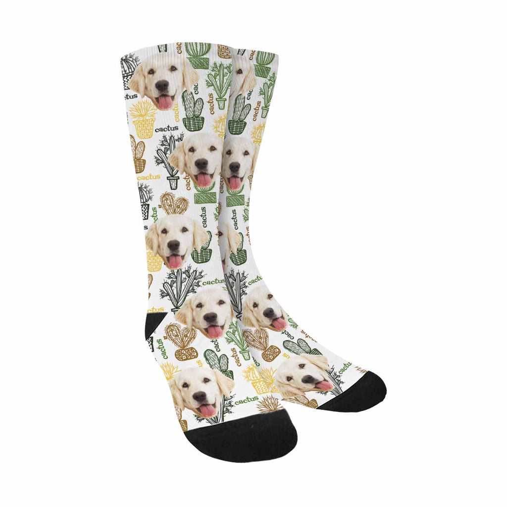 Personalized Picture Cactuses Pup Socks, Succulent Plants in Pots