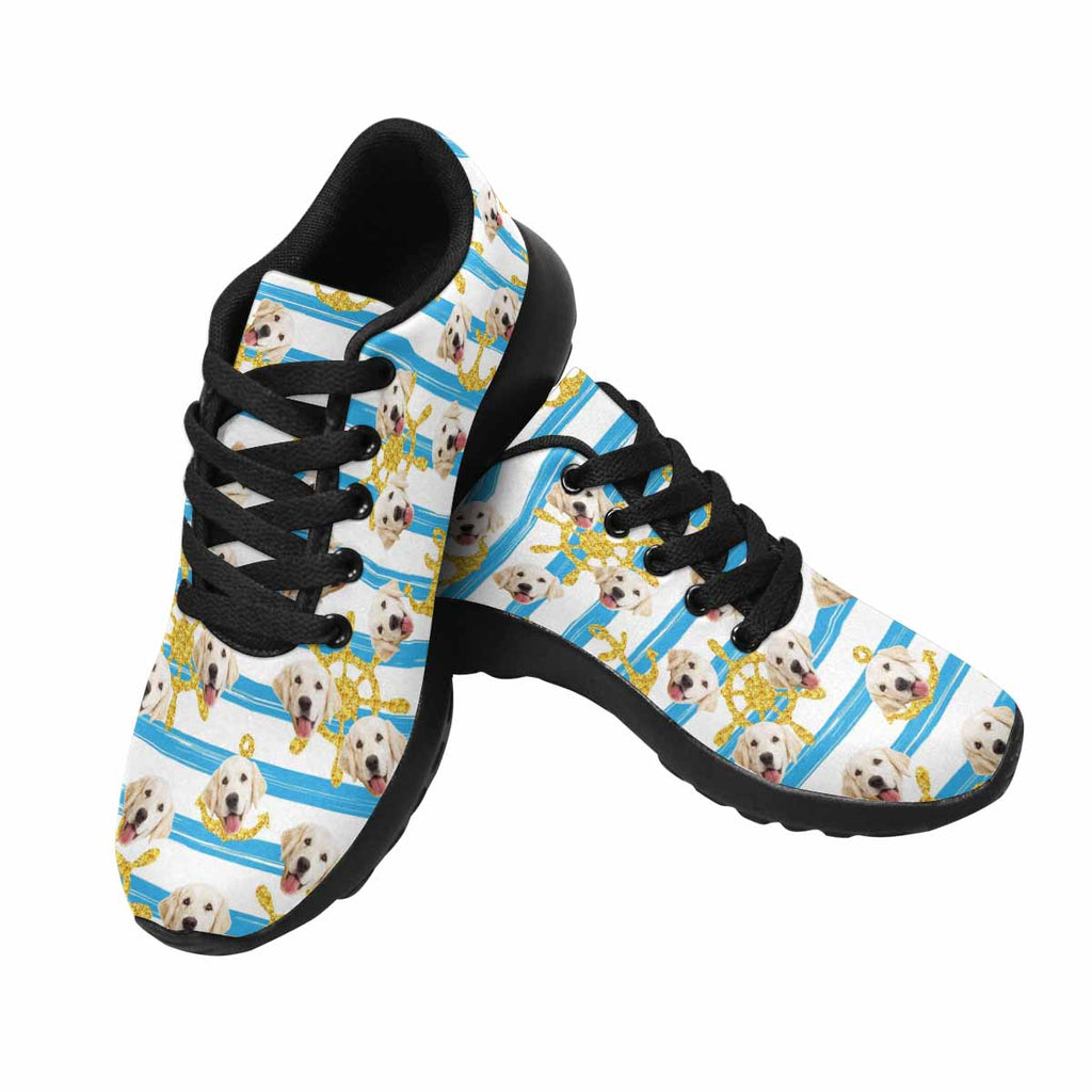 Custom Printed Golden Anchors and Wheels Pet Women's Running Shoes Stripes