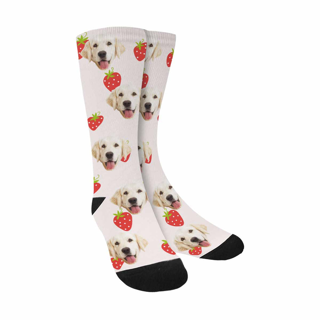 Custom Printed Picture Cute Strawberry Pup Socks