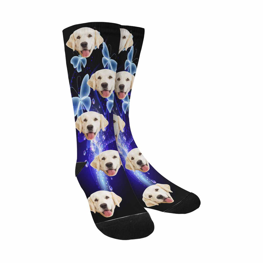 Custom Photo Smoke Bubbles and Butterflies Dog Socks