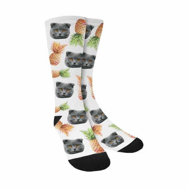 Custom Printed Watercolor Pineapples Cat Face Socks
