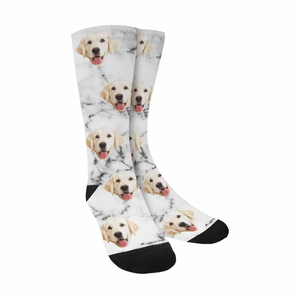 Custom Printed Picture White Marble Dog Socks