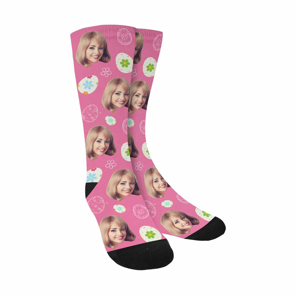 Personalized Picture Floral Eggs Face Socks Pink Background