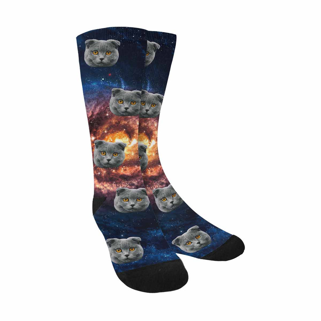 Custom Photo Spiral Galaxy Cat Face Socks