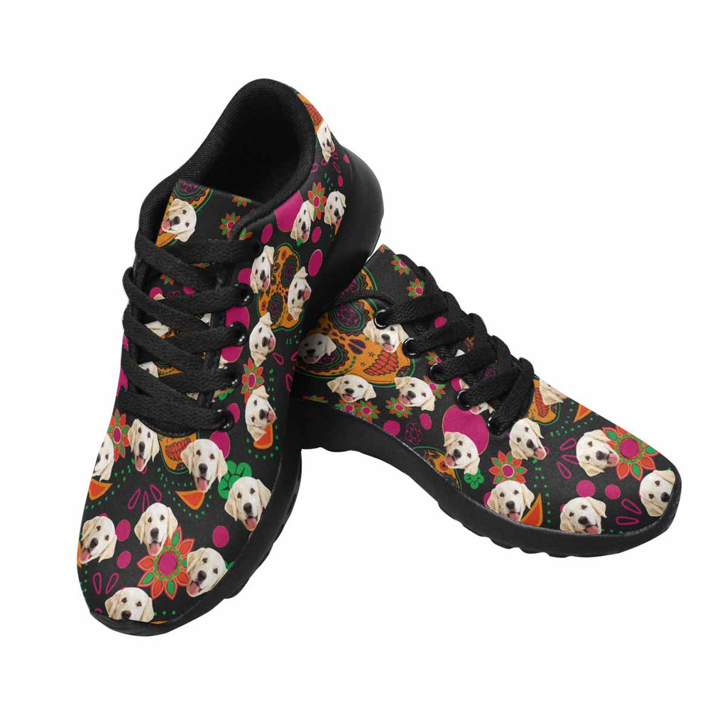 Personalized Printed Sugar Skull Pup Women's Running Shoes