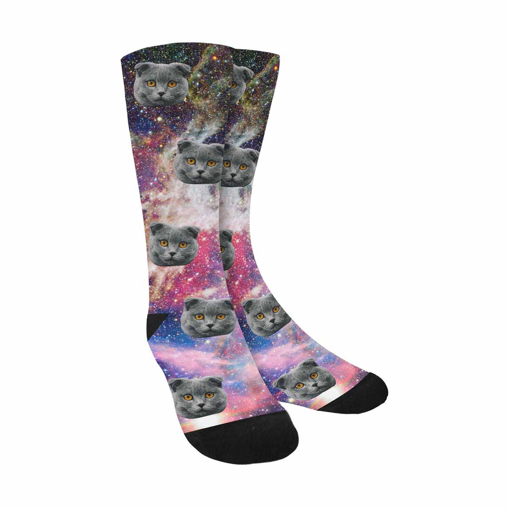 Personalized Picture Nebula in Space Cat Socks