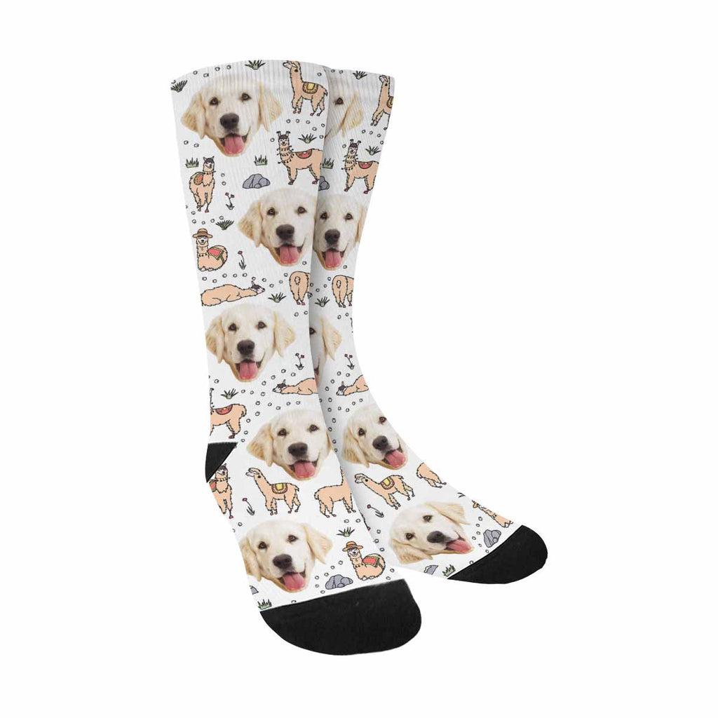 Personalized Picture Cute Llama Pup Socks, Cartoon