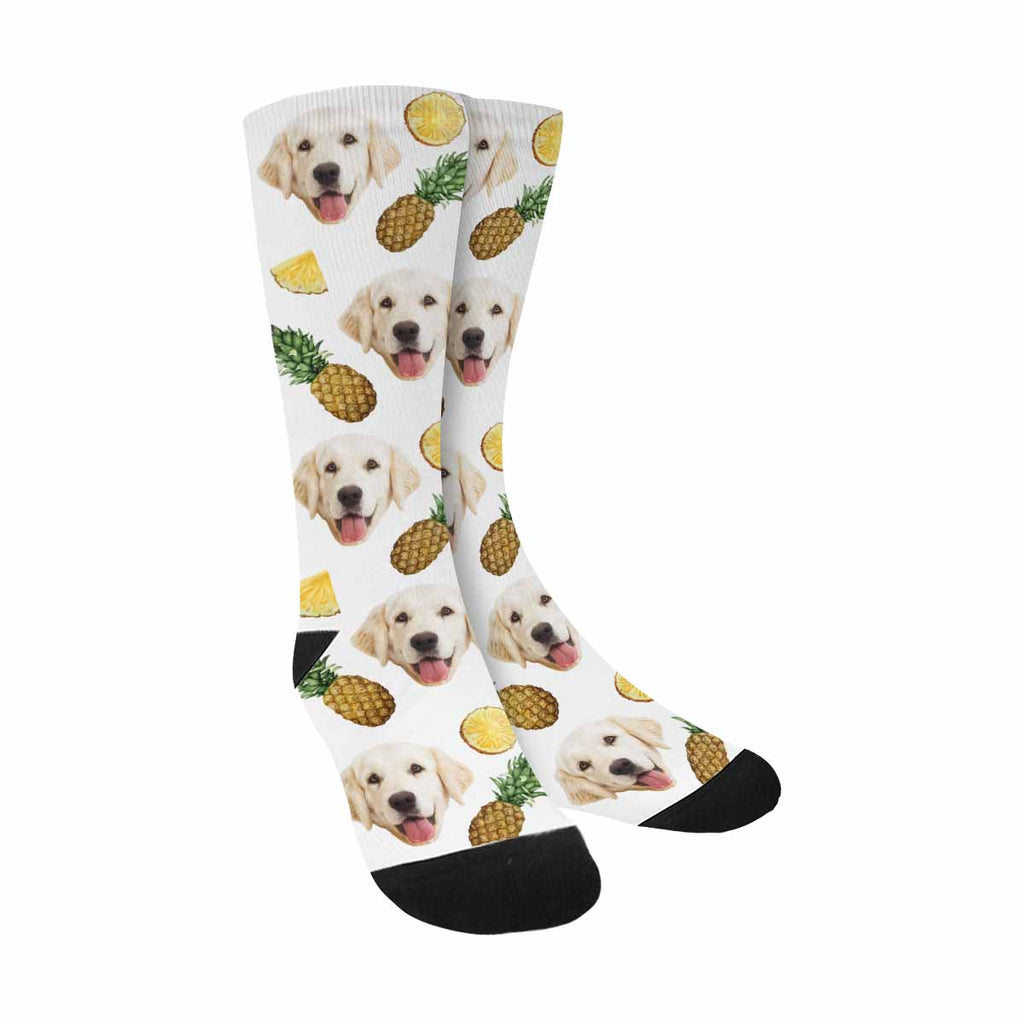 Personalized Picture Watercolor Pineapples Dog Socks
