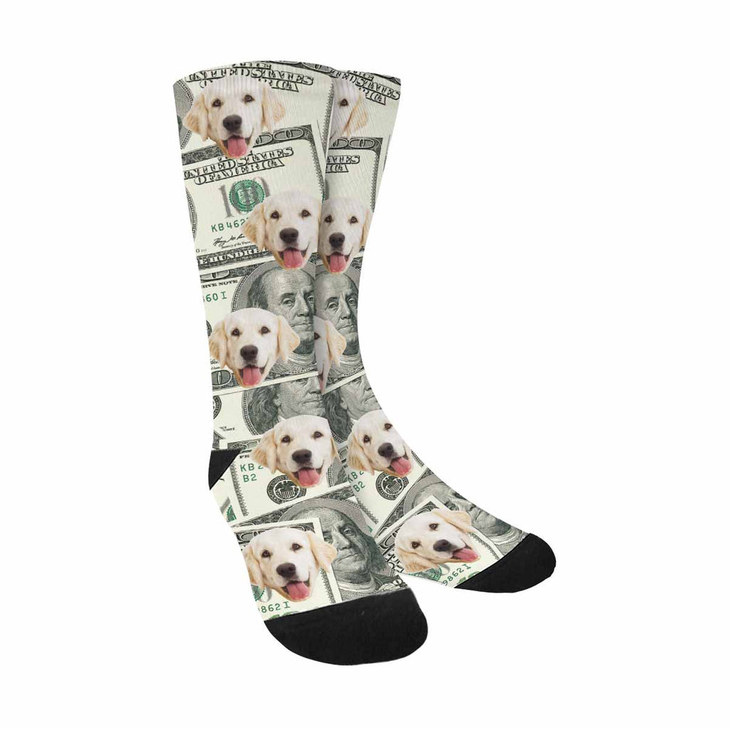 Custom Printed Photo 100 Dollar Bills Pup Socks