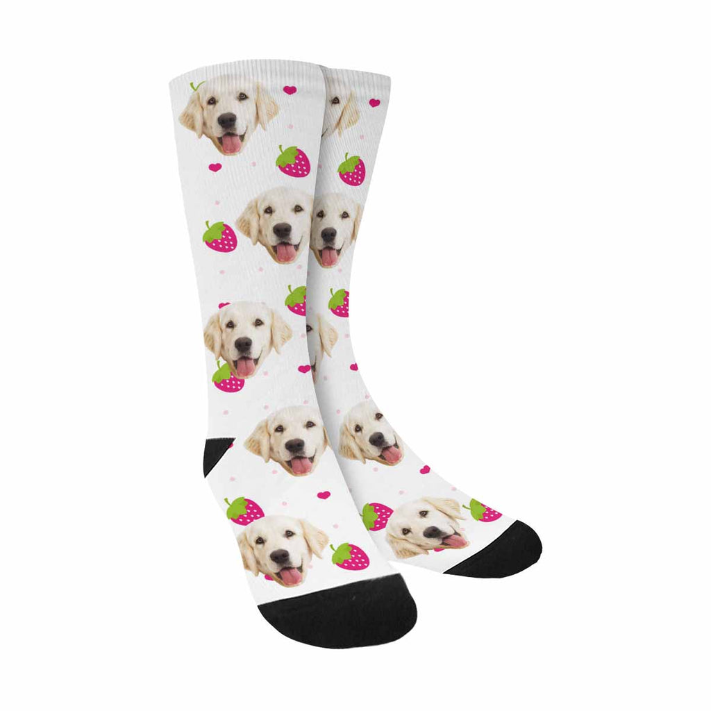 Custom Printed Photo Strawberry Pup Socks, Polka Dot And Heart