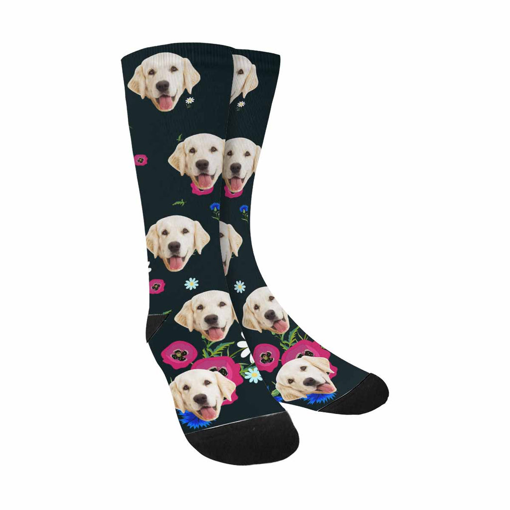 Personalized Picture Floral Dog Socks, Chamomile,Poppies