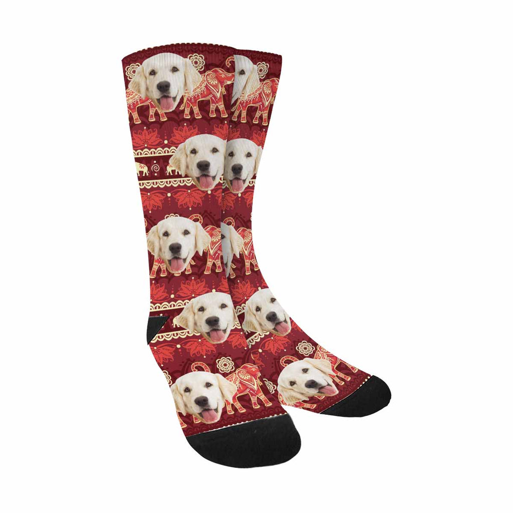 Custom Printed Picture Elephants Pup Socks
