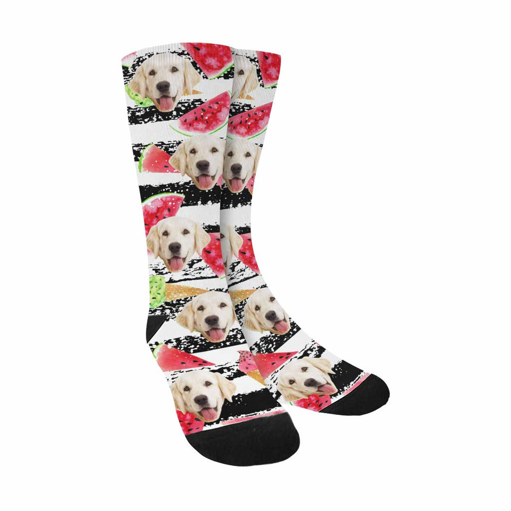 Custom Photo Watermelon Slices Dog Socks, Ice-Creams Horizontal Stripe