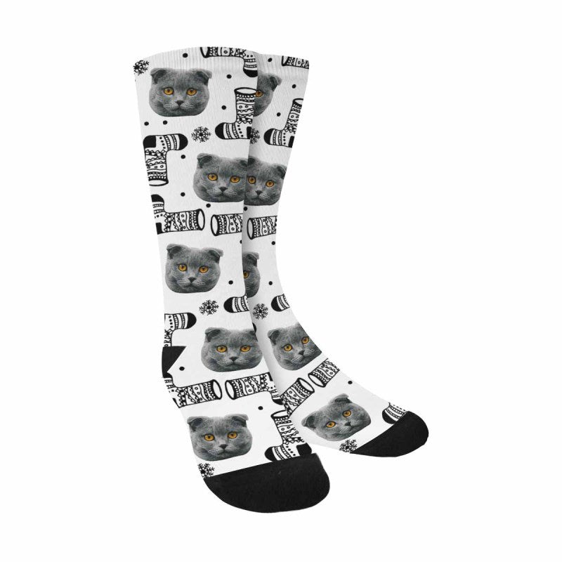 Personalized Picture Christmas Boots Pet Socks