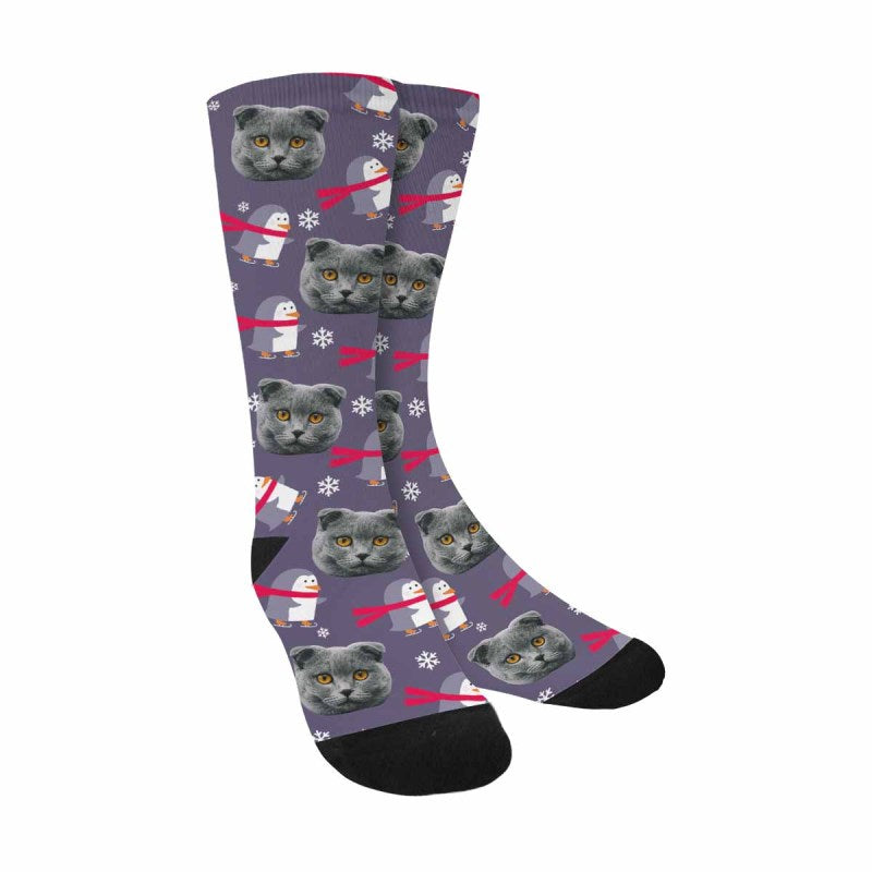 Custom Photo Merry Christmas Cat Face Socks Penguin and Snowflake