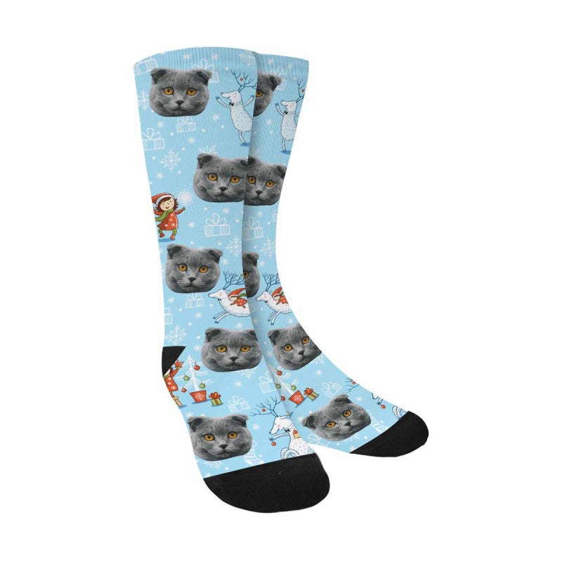 Custom Printed Photo Christmas Cat Face Socks Girl and Deer