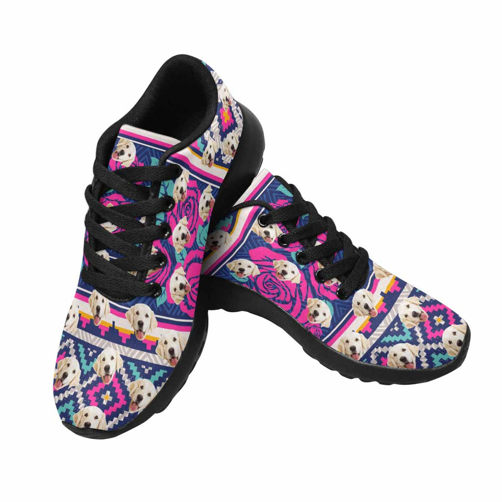 Custom Printed Ethnic Roses Pet Women's Running Shoes