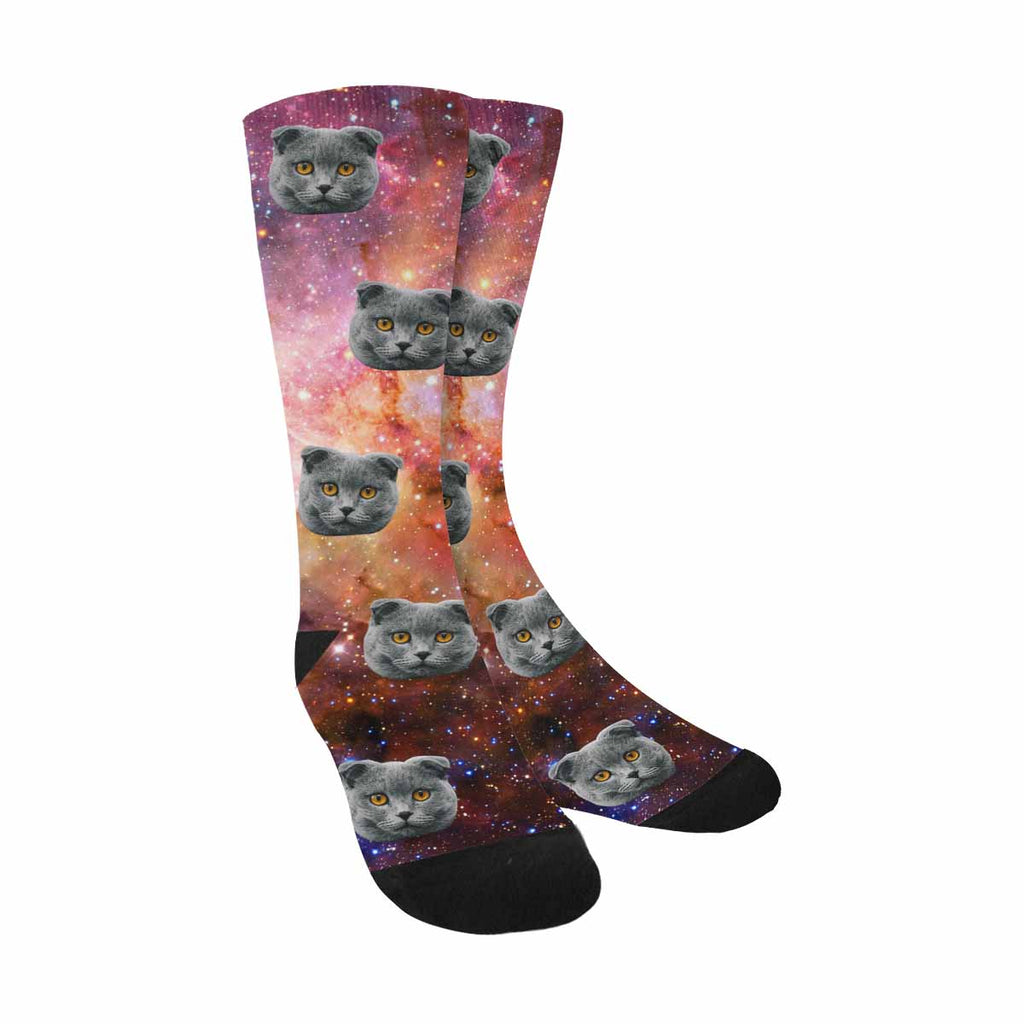 Custom Printed Photo Nebula and Galaxies Cat Face Socks