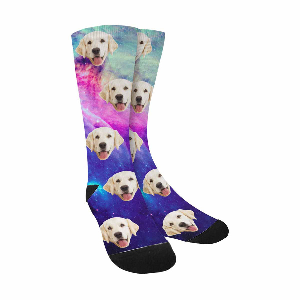 Custom Printed Picture Stellar Space Pup Socks