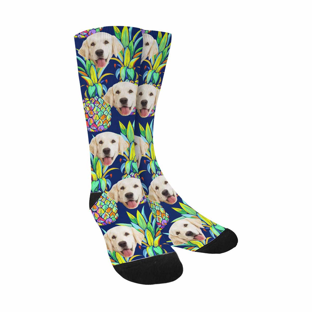 Custom Photo Colorful Pineapples Dog Socks, Summer Fruit