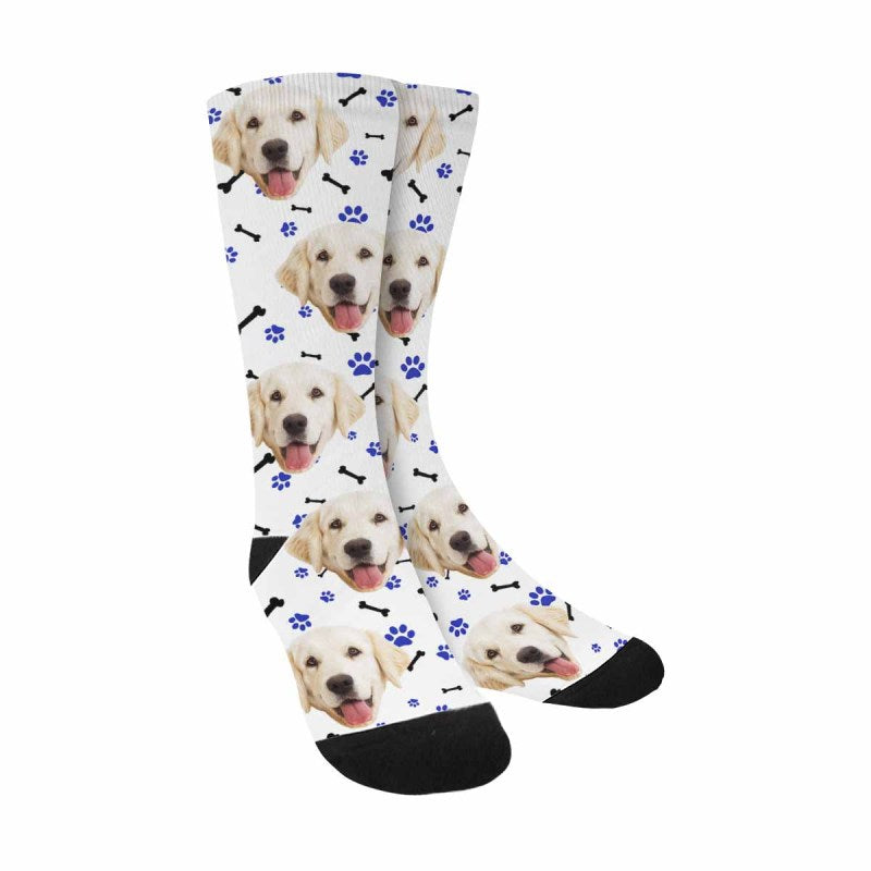 Custom Printed Picture Paws and Bones Pup Socks