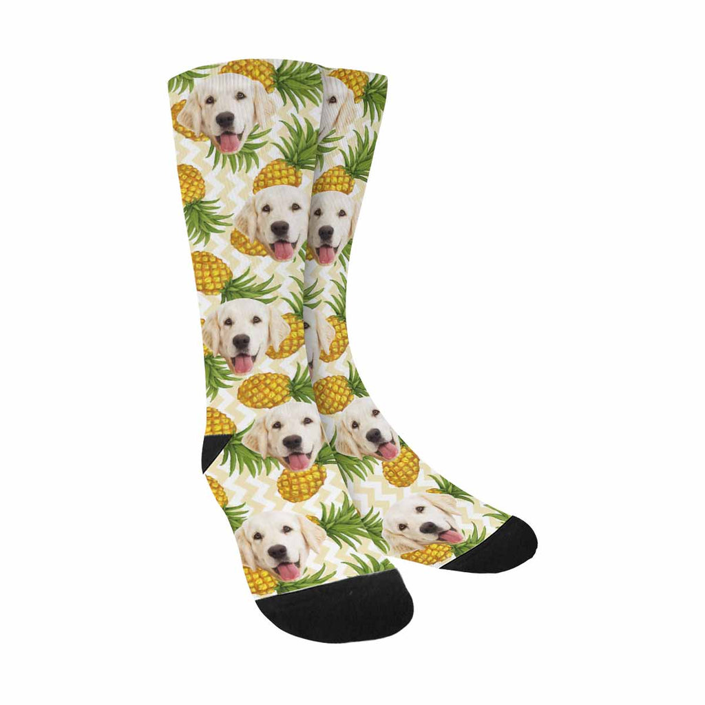 Custom Printed Photo Pineapples Pup Socks, Fruit Yellow Chevron