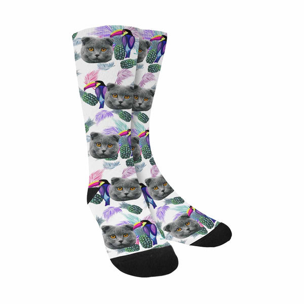 Custom Printed Toucan Cat Socks Palm Leaves and Pineapples